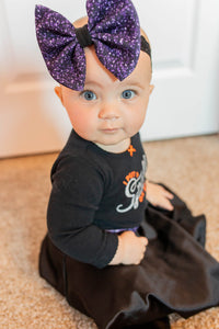 Glitter Print Purple Skirt and Bow Set