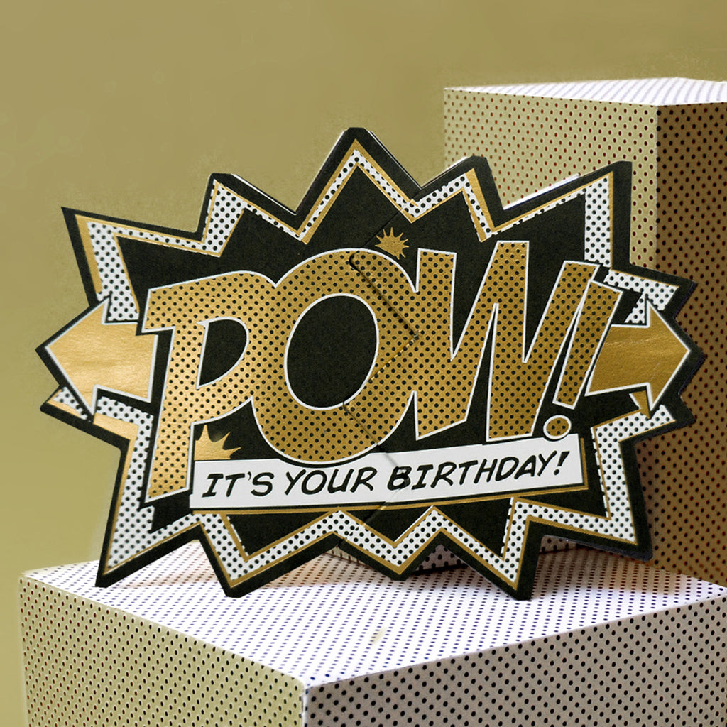 Luxury Edition Gold 'Pow' Comic Cracker Card