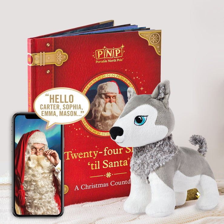 PNP Personalised Christmas Storybook & Okidä Husky Gift Set