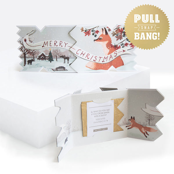 Winter Woodland Fox Christmas Cracker Card