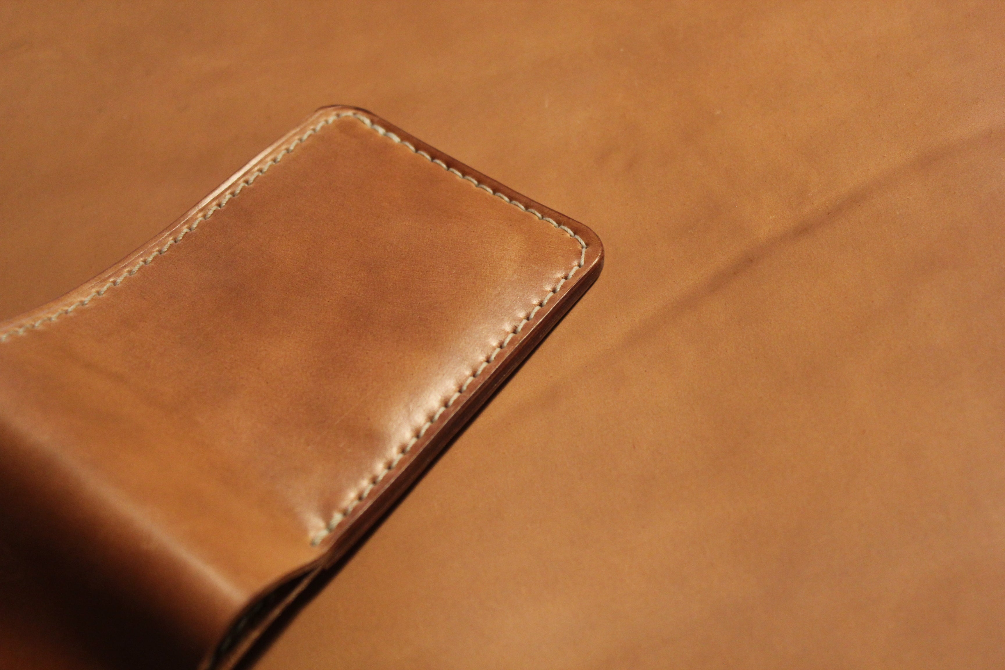 Horween Unglazed Natural Shell Cordovan with Venetian Leather Balm Application