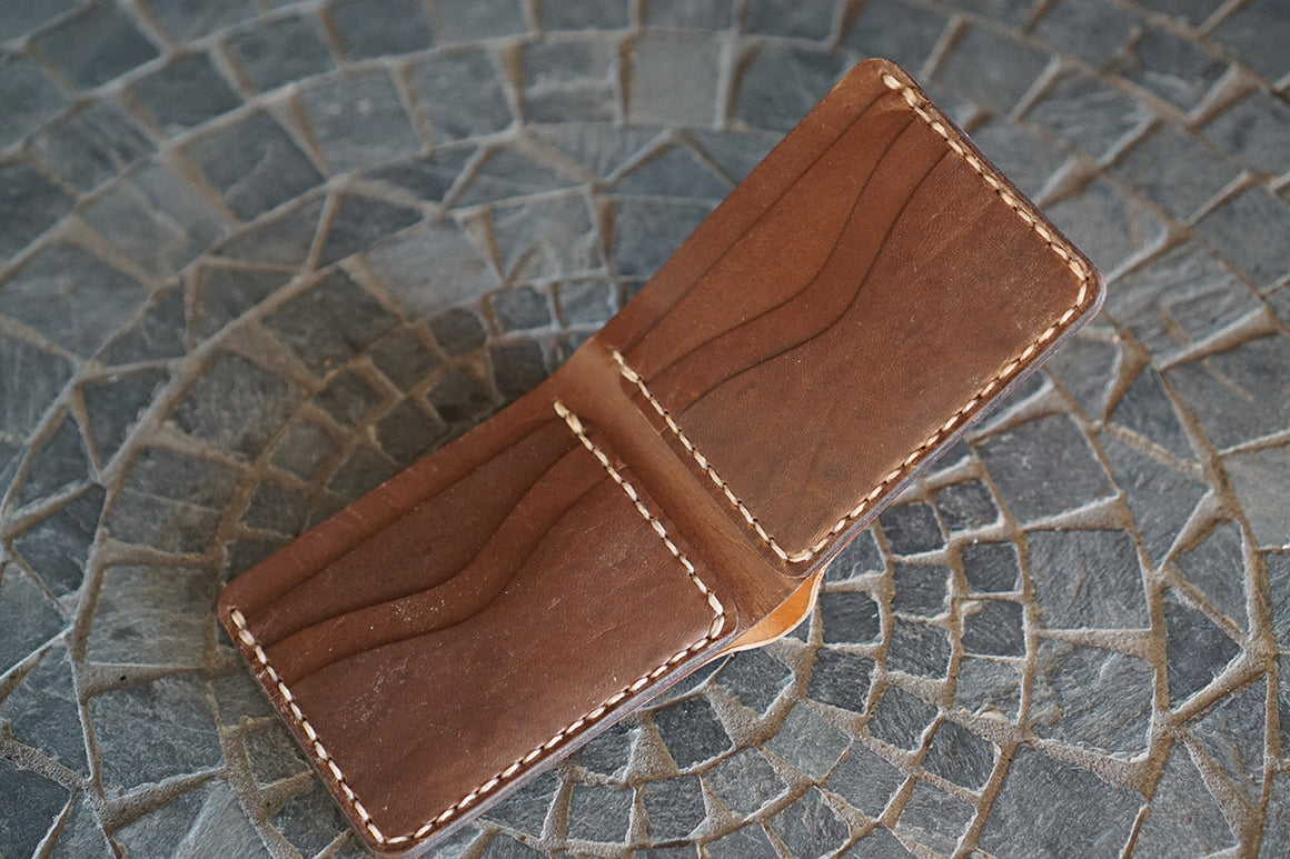 Bulwark (6 Slots) - Conceria Cloe Unglazed Natural Shell Cordovan and Horween Natural Chromexcel Horsehide