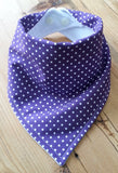 Purple Spots Bandana Dribble Bib - My Little Owl Bandana Dribble Bibs - Funky Handmade Dribble Bibs For Boys and Girls