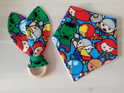 Teething Bunny & Bandana Dribble Bib Baby Gift Set (Choose Your Fabric)