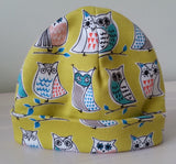Olive Owls Baby Beanie Hat - My Little Owl Bandana Dribble Bibs - Funky Handmade Dribble Bibs For Boys and Girls