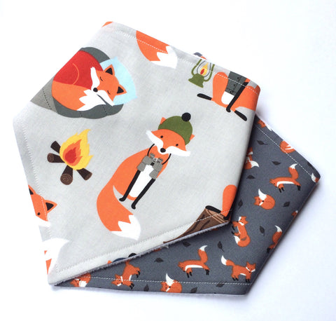 Fox Print Bandana Dribble Bib Gift Set