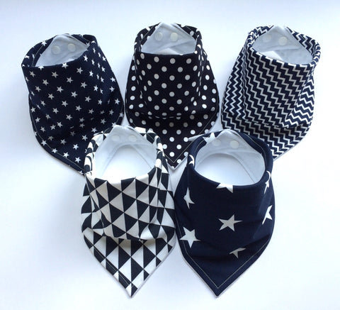 Navy Geometric Bandana Dribble Bib Bundle