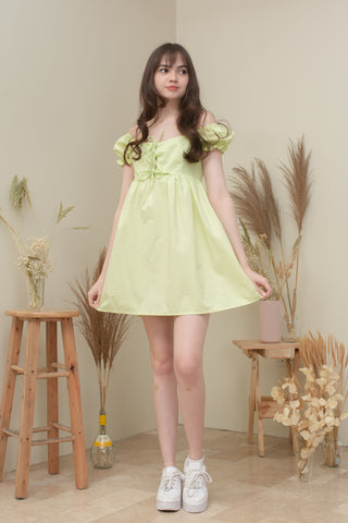 MILANA BABY DOLL DRESS IN LIME