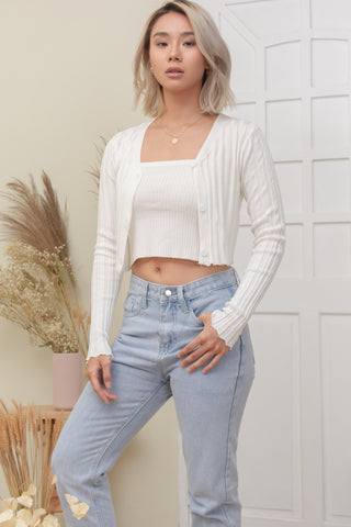 LELI TOP AND CARDI SET IN WHITE