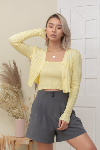 LELI TOP AND CARDI SET IN YELLOW