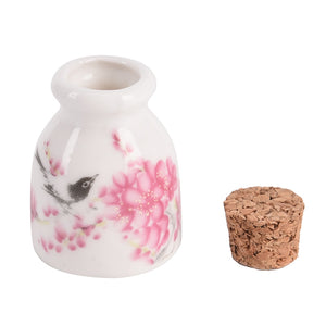 1Pcs Ceramic Powder Bottle With Wood Lid