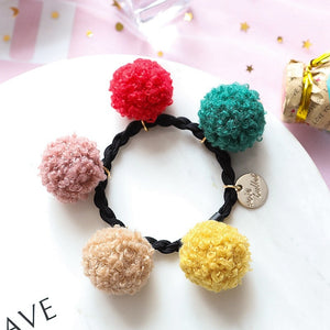 Double Plush Ball Elastic Hair Bands