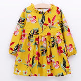 Autumn Long Sleeve Flowers Printing Dresses