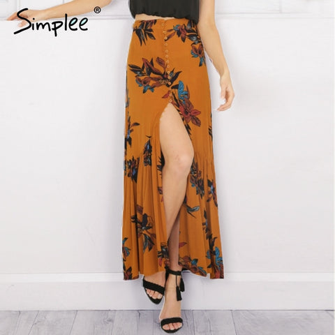 High Waist Boho Print Long Skirt
