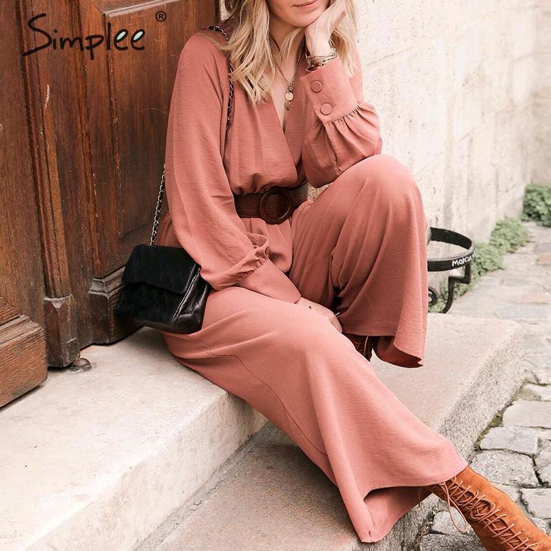 V-Neck Long Sleeve Women Jumpsuit