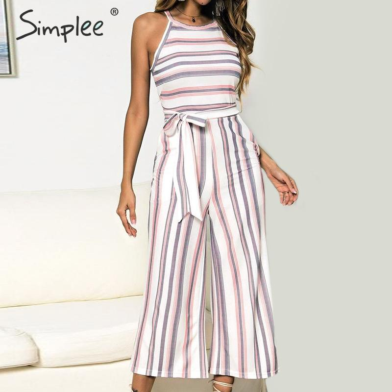 Casual Striped Long  Jumpsuit