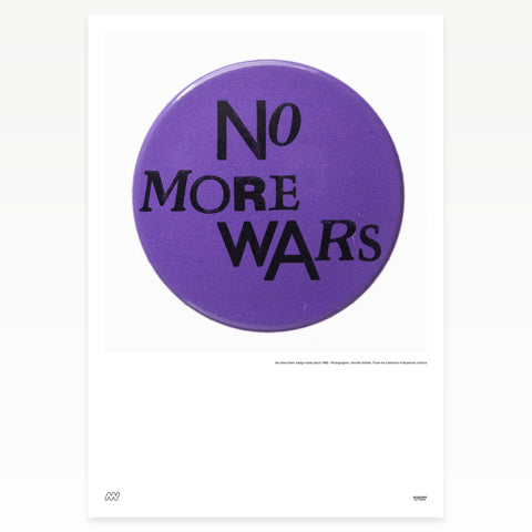 "Purple badge ""No more wars"""
