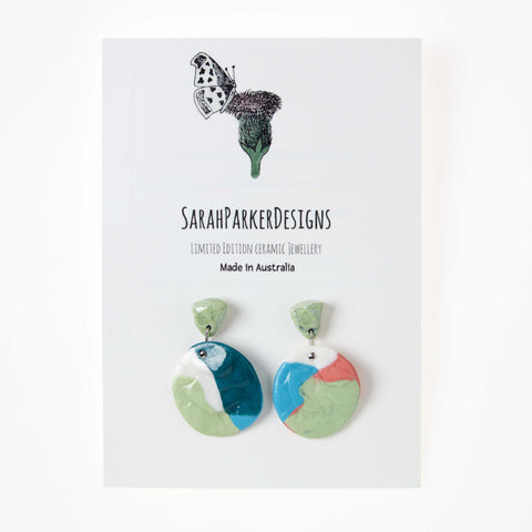 Sarah Parker Mint Round Earrings