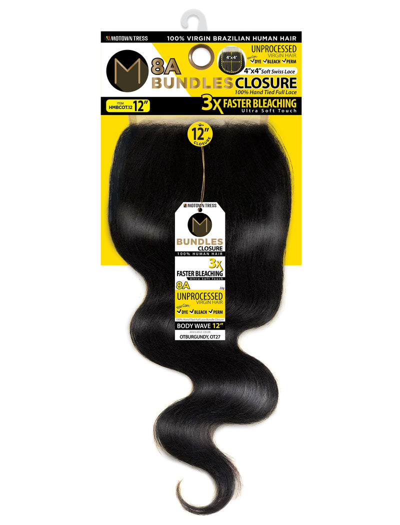 "8A M BUNDLE BODY WAVE CLOSURE (4"" x 4"")"