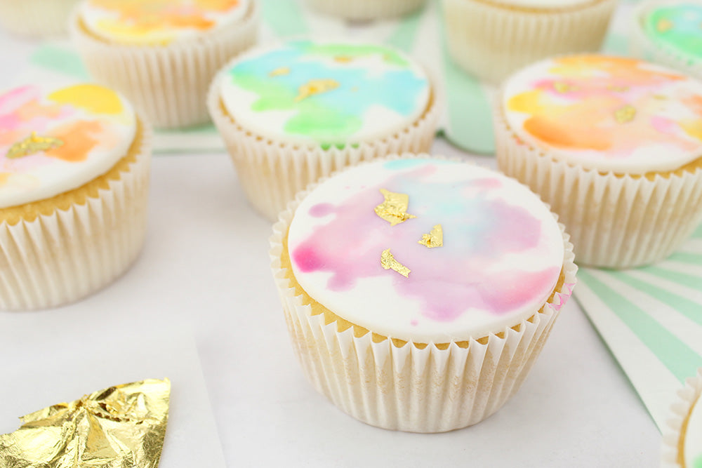 Gold Gilded Watercolor Cupcakes Layer Cake Shop