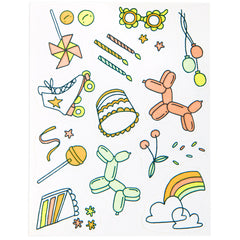 Birthday Party Stickies Edible Decorating Stickers
