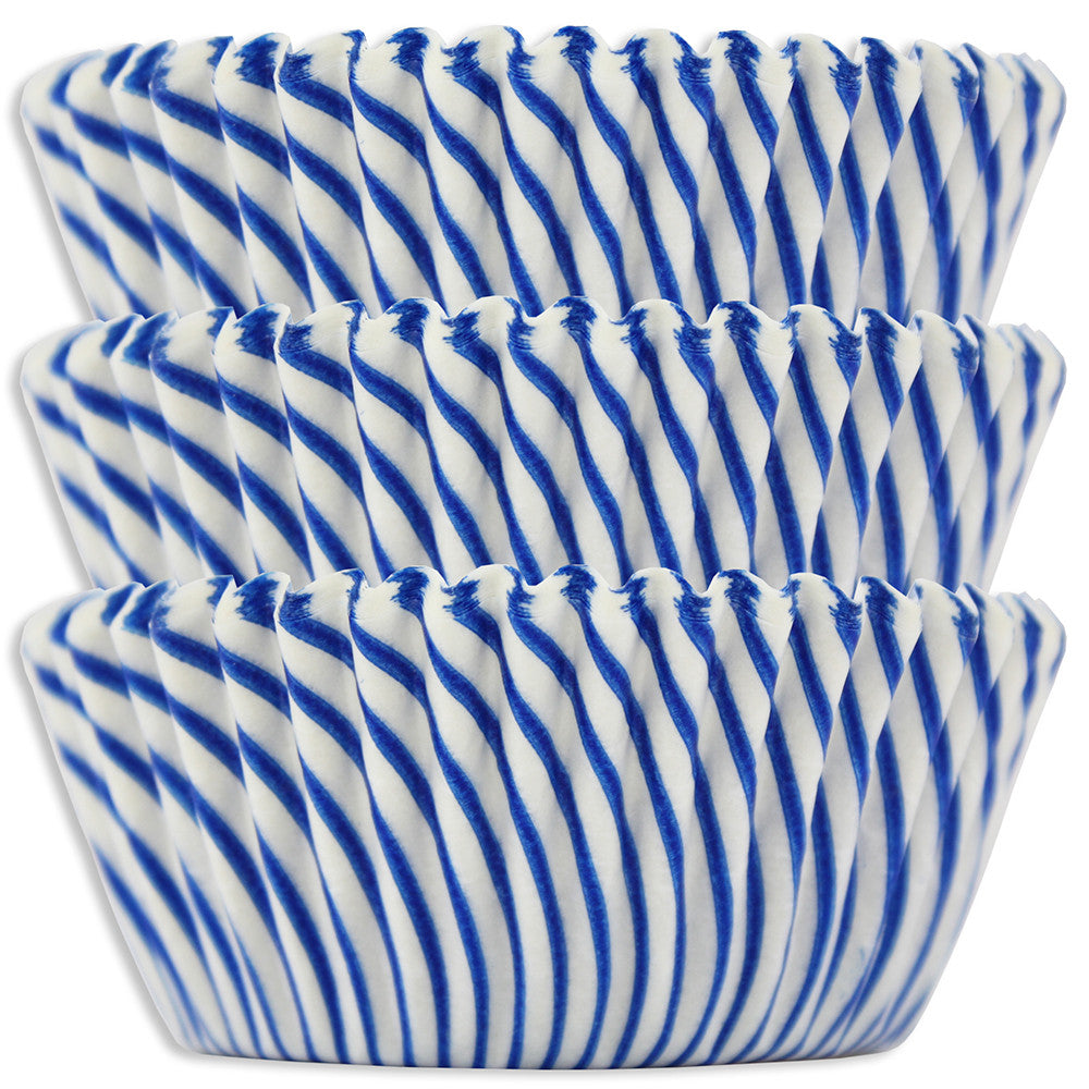 Blue Candy Stripe Baking Cups
