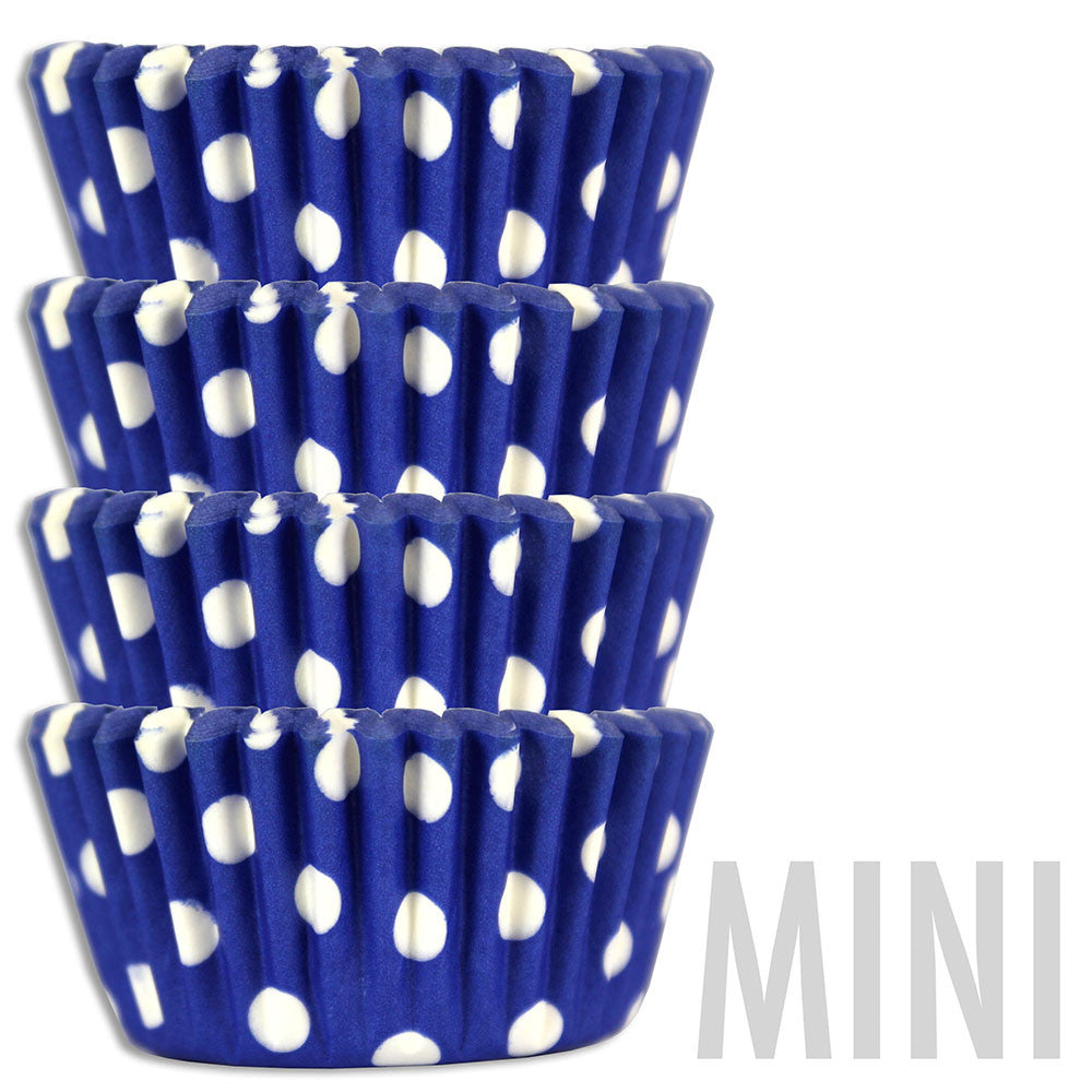 Mini Royal Blue Polka Dot Baking Cups