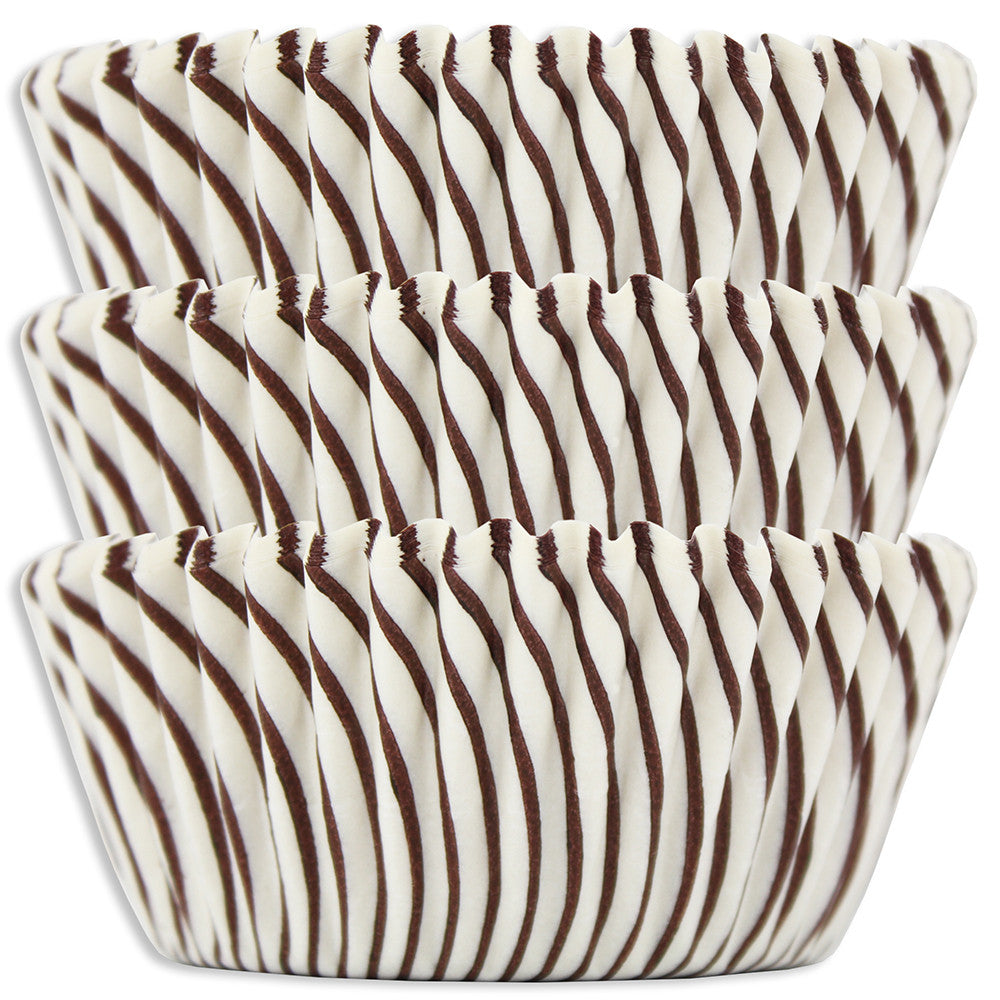 Brown Candy Stripe Baking Cups