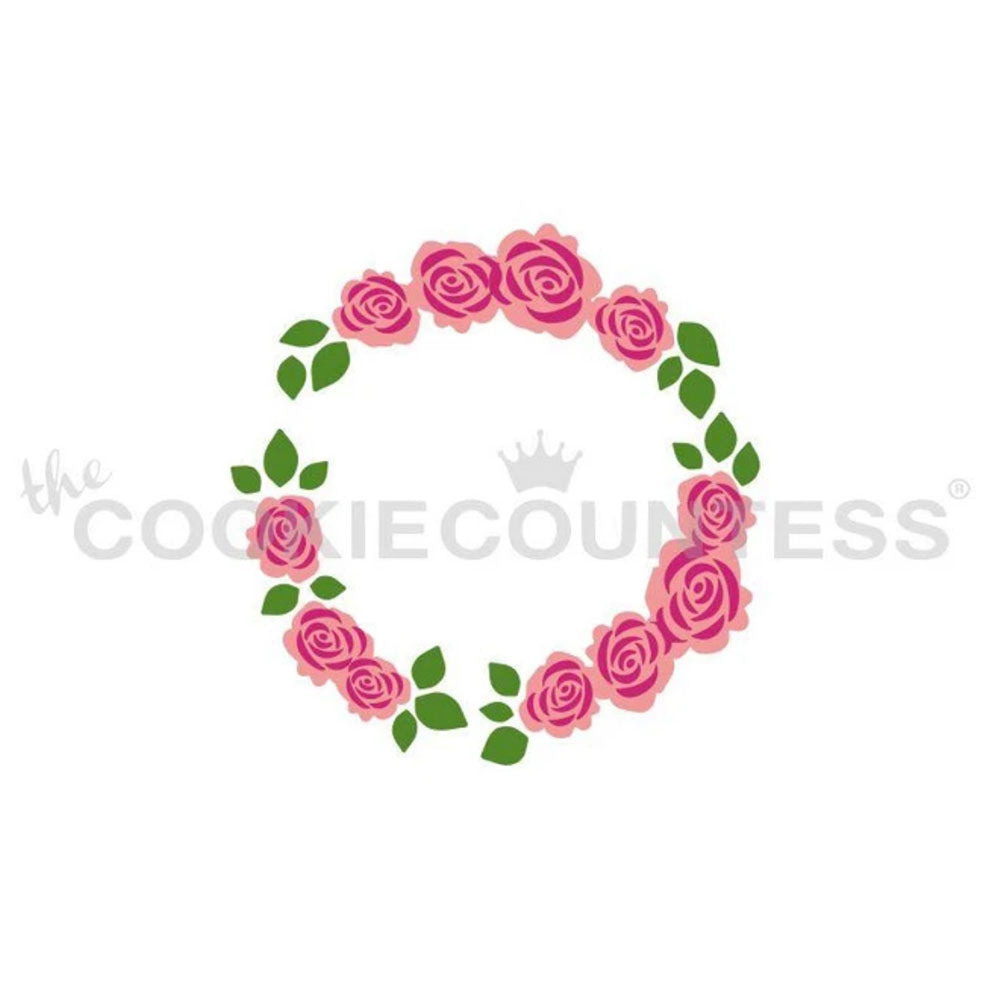 Floral Wreath Cake & Cookie Stencil - 3 Stencils