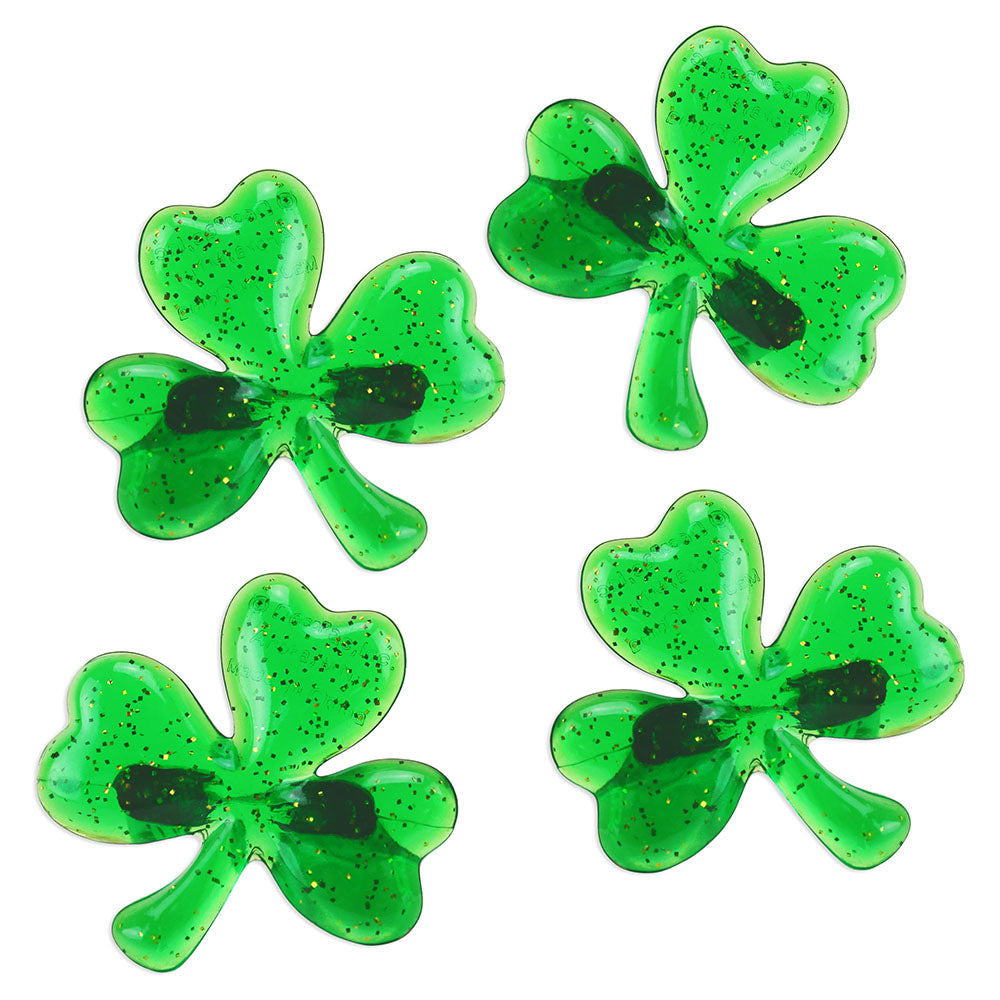 Green Glittery Shamrock Ring Toppers