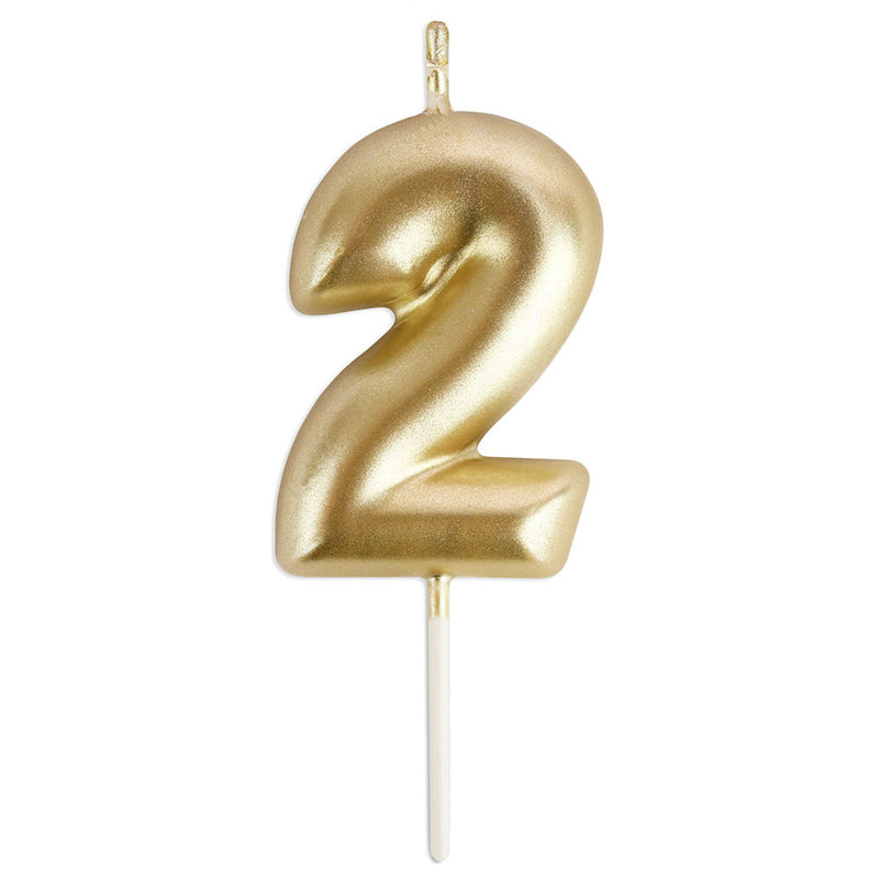 Gold Number 2 Birthday Candle