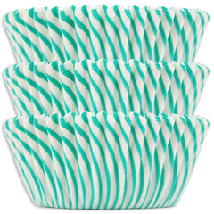 Green Candy Stripe Baking Cups