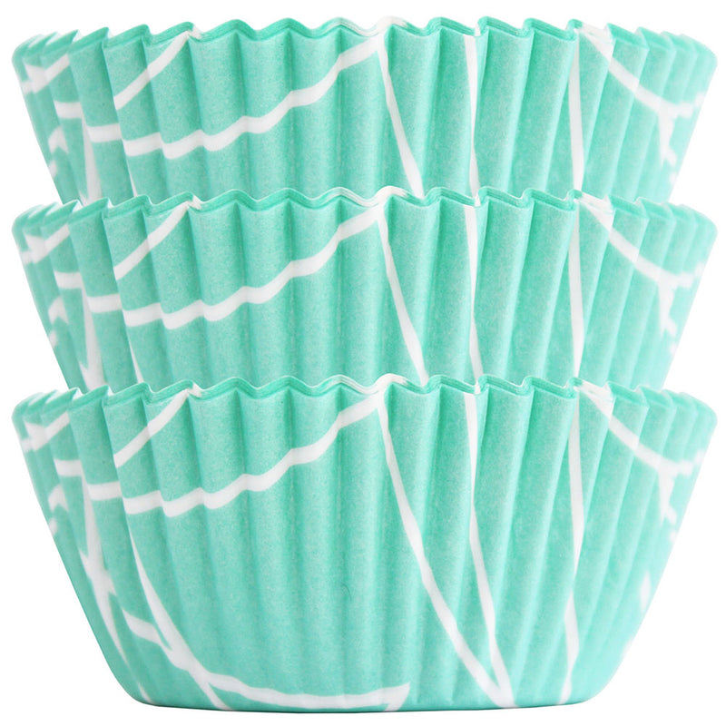 Light Aqua Mod Lines Baking Cups