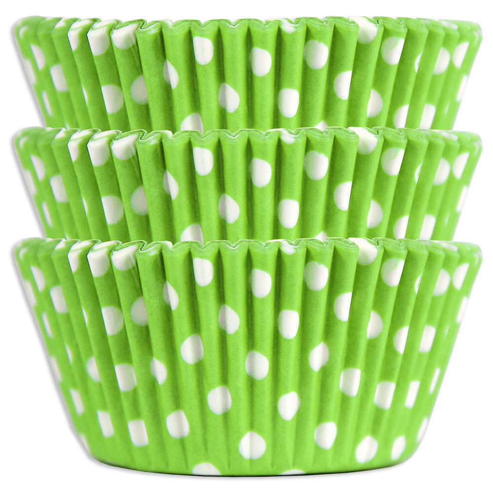 Lime Green Polka Dot Baking Cups