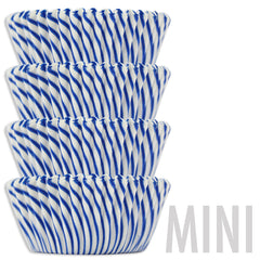 Mini Blue Candy Stripe Baking Cups