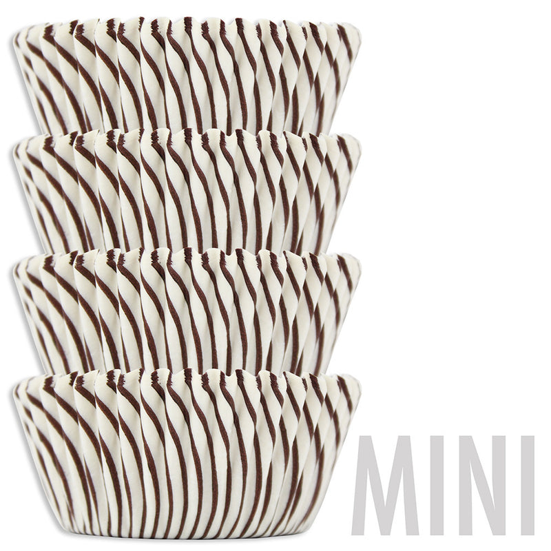 Mini Brown Candy Stripe Baking Cups