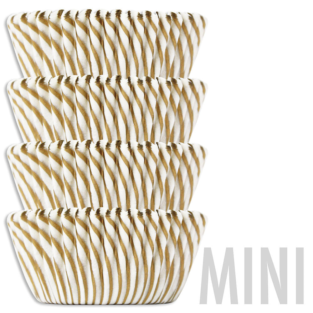 Mini Gold Candy Stripe Baking Cups