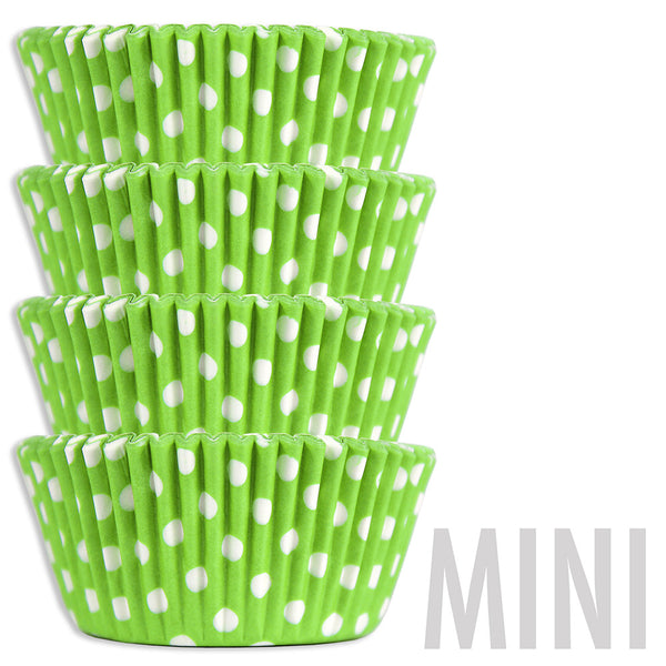 Mini Lime Green Polka Dot Baking Cups