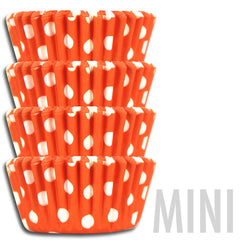 Mini Orange Polka Dot Baking Cups