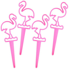 Neon Pink Flamingo Picks