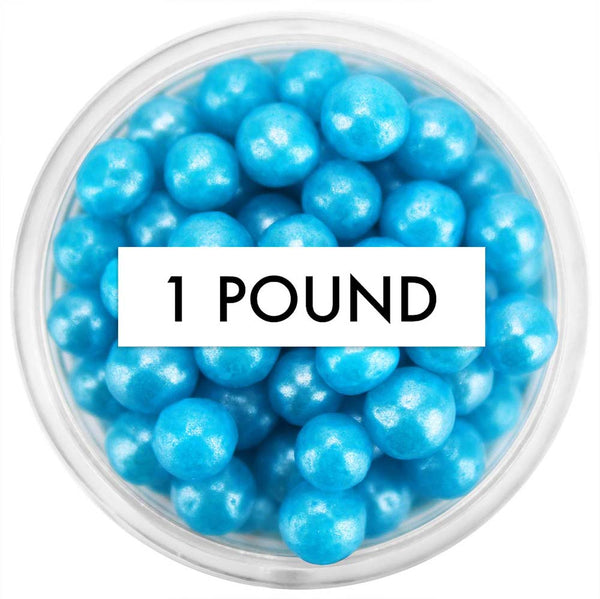 Pearly Bright Blue Sugar Pearls 5-6MM 1 LB