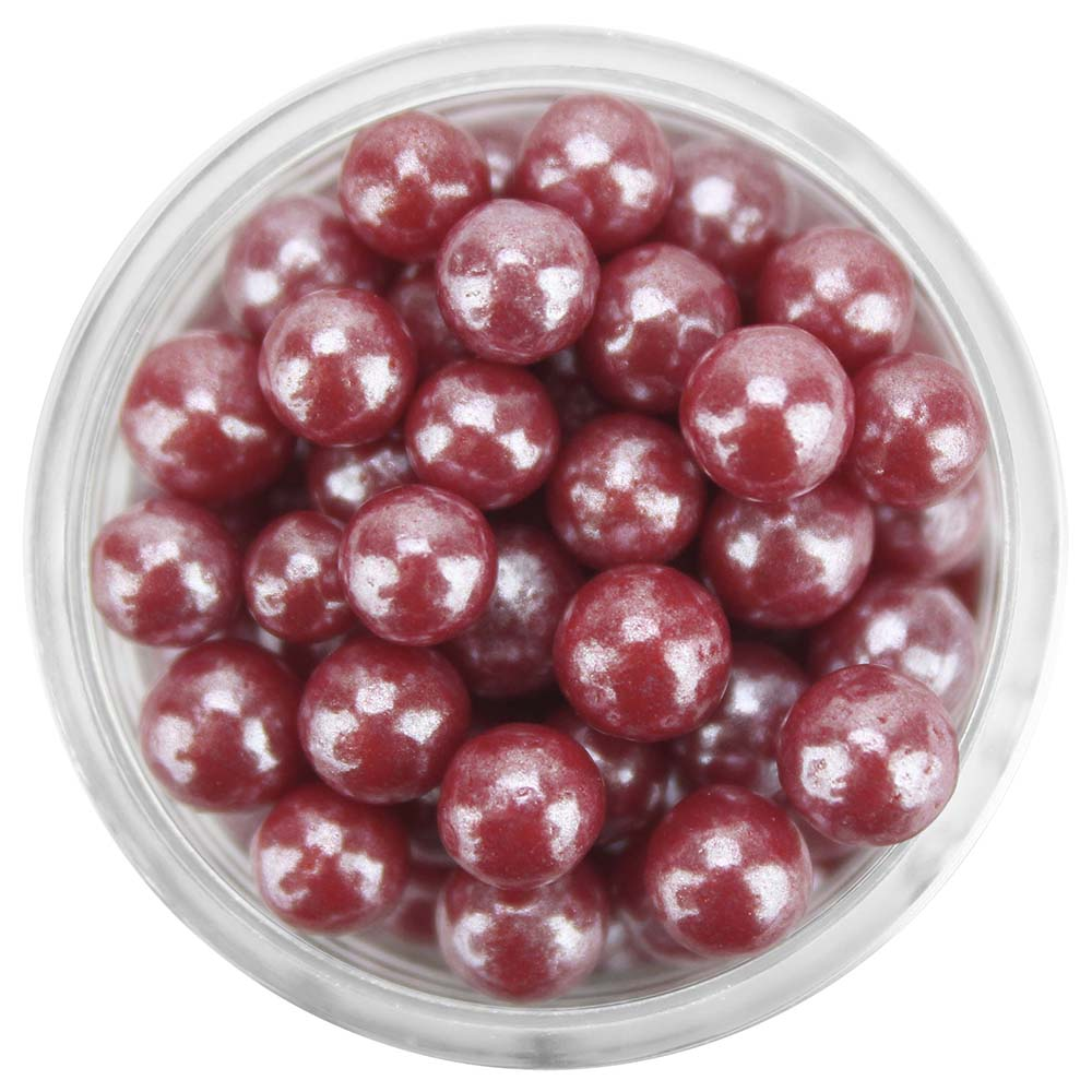 Pearly Burgundy Rose Sugar Pearls 5-6MM