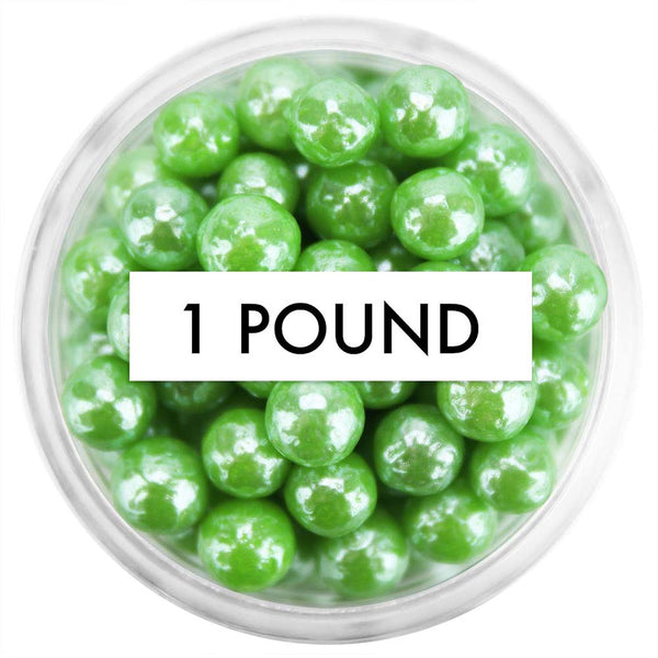 Pearly Green Sugar Pearls 5-6MM 1 LB