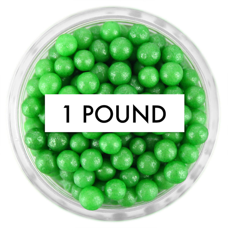 Pearly Green Sugar Pearls 1 LB
