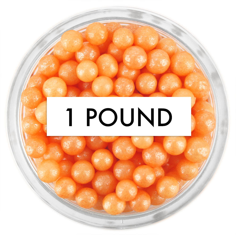 Pearly Orange Sugar Pearls 1 LB