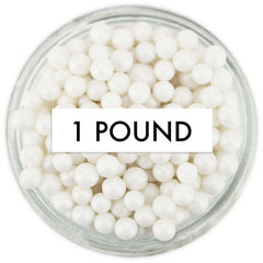 Pearly White Sugar Pearls 1 LB