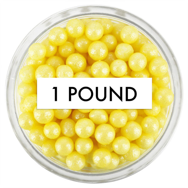 Pearly Yellow Sugar Pearls 1 LB