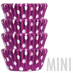 Mini Purple Polka Dot Baking Cups