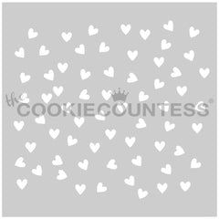 Small Scattered Hearts Cake & Cookie Stencil