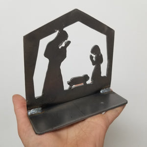 Kid-Proof Metal Nativity Candleholder or Bookend